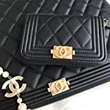 Nouveauté 80602 hqj Caviar Quilted Caviar Quilted Boy Zip Around Coin Purse Wallet Black Timeless Classic MATELASSE 8A 最高ランクキャビアスキン コイン・カードケース [並行輸入品]