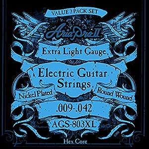 AriaProII アリアプロツー エレキギター弦 3セットパック 09-42 Extra Light エクルトラライト AGS-803XL