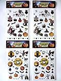 PenPaku ハロウィン タトゥー シール ボディー ステッカー 2種 4枚 セット パンプキン 魔女 ドクロ コウモリ 黒猫