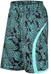 [Bekoo]カラフル バスケットボール パンツ ポケット 付き バスパン 速乾 トレーニング フィットネス ウエア ハーフパンツ グリーン L