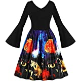 Misyula Style Vintage Empire Waist Bell Sleeve Unique Halloween Party Dresses