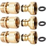 3Sets Garden Hose Quick Connector 3/4 inch GHT Brass Easy Connect Fitting - Quick Disconnect Hose Fittings Male and Female (3