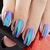 CoolNail Ballerina Coffin Nails Mirror Chrome False Nail Solid Reflection Magic Mirror Effect Green Purple Holo Nails Tips