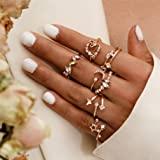 Timetries Women 4Pcs Boho Chain Ring Set Vintage Set Her for Women and Girls Teens