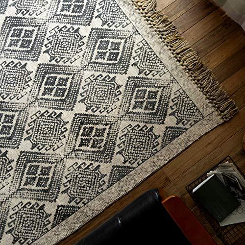 RoomClip商品情報 - キリム柄 洗える ハンドメイド ラグ カーペット ジェミニ 200x200 cm ブラック 2畳 薄型 綿100% ホットカーペットカバ- 床暖房 対応