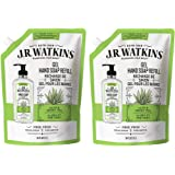 JR Watkins Liquid Hand Soap Refill Pouch, Aloe and Green Tea, 2 Pack, Scented Liquid Hand Wash for Bathroom or Kitchen, USA