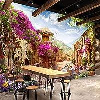 Lixiaoer カスタム3D壁画壁紙ヨーロッパの町牧歌的な街風景自然写真壁の壁画カフェレストランの背景壁紙3 D-250X175Cm