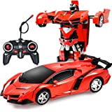 ZeroPlusOne® RC Car for Kids, 1:18 Transform Car Robot, 2.4GHz Rechargeable 360°Rotating Drifting Realistic Engine Sounds Rem