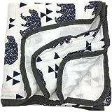 HGHG Bamboo Cotton Muslin Stroller Blanket - 4/6 Layers Muslin Cotton Blanket (Bear Large)