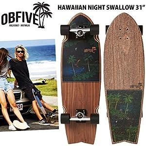 ミニクルーザー OBFive オービーファイブ スケートボードコンプリート HAWAIIAN NIGHT SWALLOW ハワイアンナイトスワロー 31インチ クルーザーデッキ スケボー
