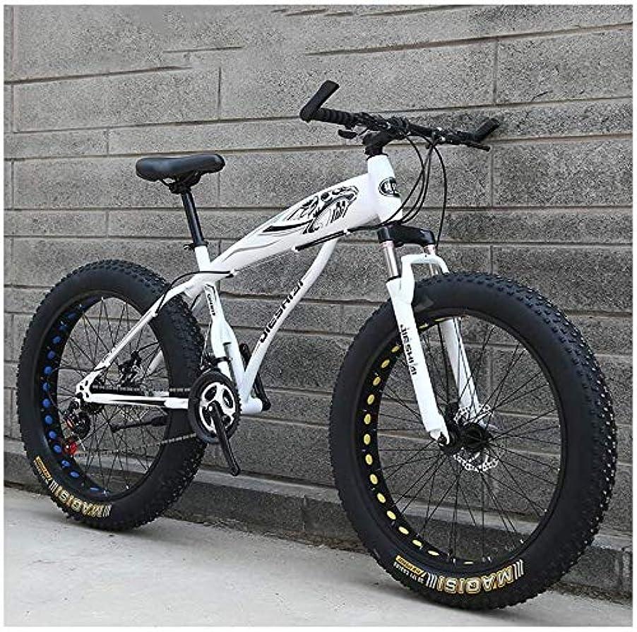 切り刻むふざけたいつも大人のマウンテンバイク、男の子女の子ファットタイヤマウンテントレイルバイク、デュアルディスクブレーキハードテイルマウンテンバイク、高炭素鋼のフレーム、自転車 YCHAOYUE (Color : White B, Size : 24 Inch 24 Speed)