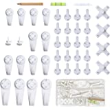 EuTengHao 43Pcs Invisible Nail Screws Wall Hooks No Trace Picture Hangers Traceless Photo Hook Hardwall Drywall Picture Hooks