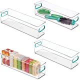 mDesign Slim Storage Bins with Built-in Handles for Organizing Soaps, Body Wash, Shampoos, Lotion, Conditioners, Hand Towels,