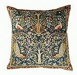 フランス製 【ART de LYS】 William Morris 8689B ブルー Tree ゴブラン織りクッションカバー (50×50cm)