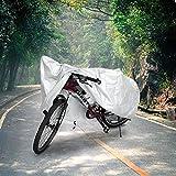 SmartRICH 自転車カバー,防水 UVカット 厚手 サイクルカバー 防犯 防風 電動自転車カバー 撥水加工 UV加工 雨・強風の日も安心 (銀, 180x60x90cm)