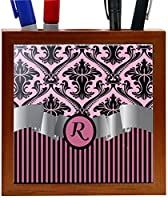 Rikki Knight RK-PH2190 Letter R Initial Light Pink Damask and Stripes Monogrammed Design 5-Inch Wooden Tile Pen Holder (RK-PH2190) [並行輸入品]