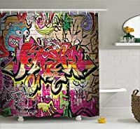 (180cm W By 180cm L, Multi 16) - Rustic Home Decor Shower Curtain by Ambesonne, Graffiti on Wall Urban Street Art with Spray Paint Tagger Underground Theme, Fabric Bathroom Decor Set with Hooks, 180cm , Multi