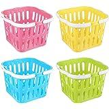 PRETYZOOM 4pcs Picnic Basket Plastic Kitchen Vegetable Basket Kids Toys Open Storage Bins Easter Candy Basket with Double Fol