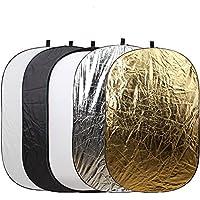 5-in-1撮影用 折りたたみ式 レフ板(白、黒、銀、金、半透明) 反射板 楕円形 1枚で5色対応 100x150CM