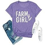 Anbech Farm Girl Print Women T-Shirt Wheat Graphic Short Sleeve O-Neck Tee Tops