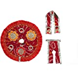 Red Chunari Cloth for Lord Krishan Ladu Laddu Gopal Kanaiya Bal Krishna Dress Poshak Vastra for Little Metal Idol Statue (Siz