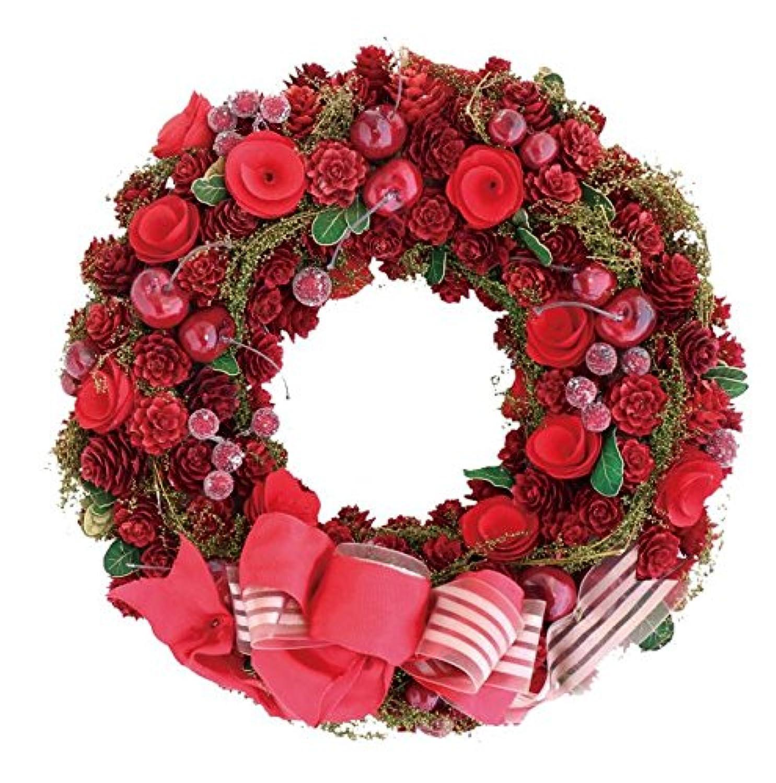 彩か SAIKA リース M 赤 レッド インテリア用 玄関飾り ラブリー CXO-187Mr Ribbon Wreath -Green grass w/Apple berry M Red