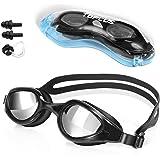 TOPLUS Swim Goggles, Goggles No Leaking Anti Fog UV Protection Swimming Goggles Triathlon for Men Women Youth Kids Child, wit
