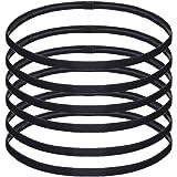 Sport Headbands Thin Elastic Head Band Yoga Headbands, Black, Pack of 6