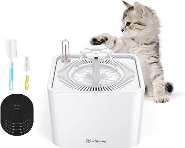 isYoung ペット自動給水器 水飲み器 猫用 犬用 循環式 自動給水器 超静音ACポンプ フィルター*5 水不足の注意機能備え 2.2L大容量【1年保証期間】