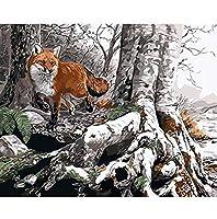 番号によるzddyxペイント動物キツネシュナウザー絵画子供のギフトデジタル絵画家の装飾壁アートリビングルームの描画図40x50cm(16x20in)