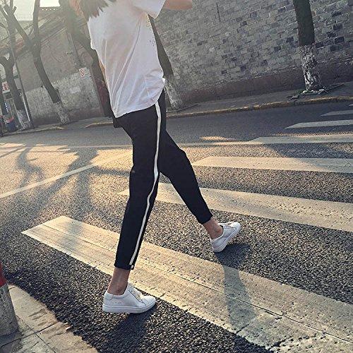 (ミズミス) Ms.Miss レディース サイドラインパンツ ジョガーパンツ スポーツ ライン パンツ ボトムス ブラック (M)