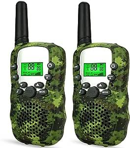 Wcocow トランシーバー子供ギフト Walkie Talkies 無線機 2台セット LED懐中電灯 フラッシュライト 無線 特定小電力トランシーバー 低放射 迷彩色