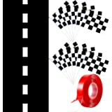 13 x 2 Feet Long Racetrack Running Party Decoration Mat and 12 Piece 8 x 5.5 Inch Checkered Black and White Racing Stick Flag
