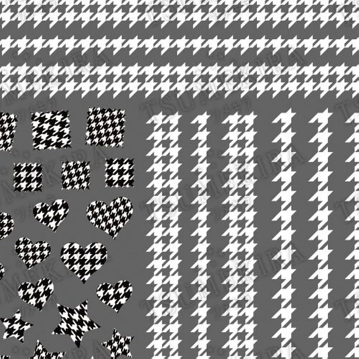 ツメキラ ネイル用シール スタンダードスタイル 千鳥格子 ホワイト  NN-TEX-101