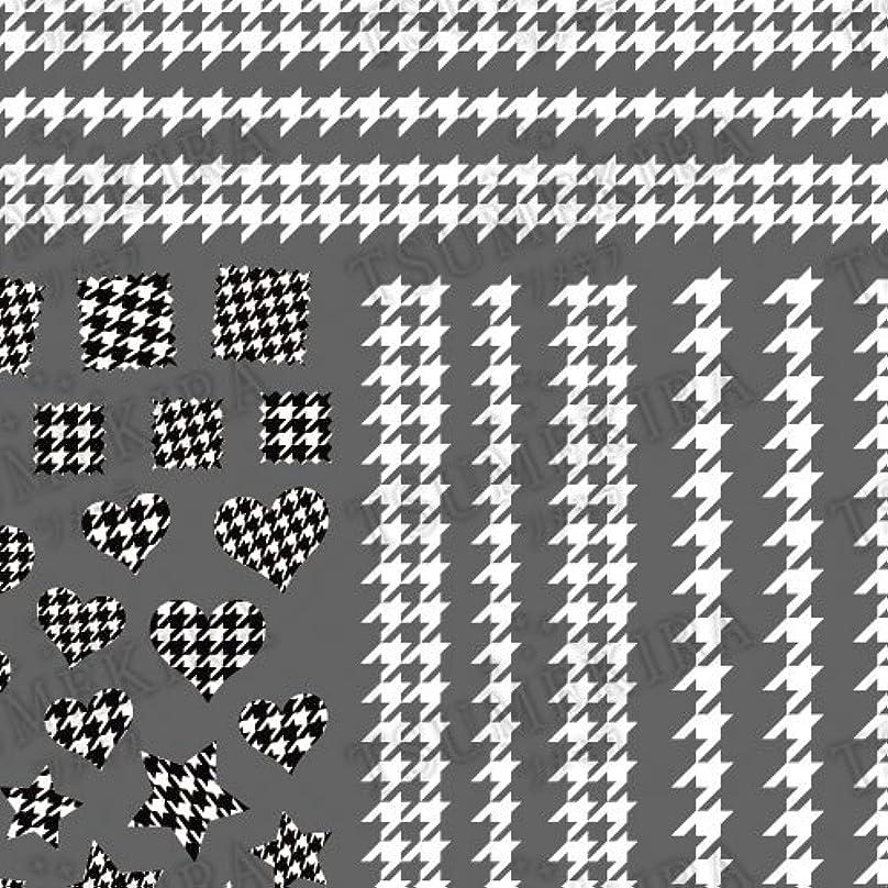 病気のジェスチャー隣接するツメキラ ネイル用シール スタンダードスタイル 千鳥格子 ホワイト  NN-TEX-101