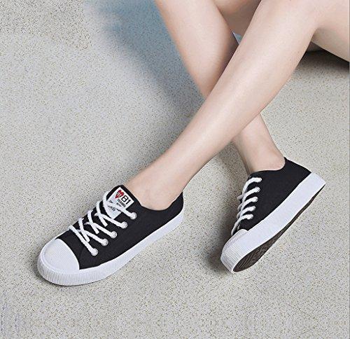 キャンバスシューズと快適な通気性の学生のフラットボトムファッションの女の子の靴アウトドアスポーツシューズ ( 色 : ブラック , サイズ さいず : 35 )