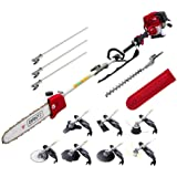 Giantz Pole Chain Saw 4-STROKE Chainsaw Pruner with Hedge Trimmer Brush Cutter Whipper Saw