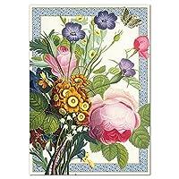 定形多目的二つ折りカード 花とブローチ 薔薇 B87612Aグリーティングカード アームカンパニー