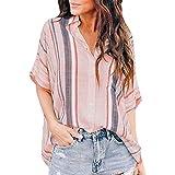 Womens Blouse Summer Womens Loose Tops Plus Size Button Long Shirt Dress Cotton Ladies Casual T-Shirt