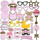 iFun iCool ベビーシャワー写真小道具 ベビーボトルマスク ピンク フォトブース小道具 新生児 女の子 ギフト パーティーデコレーション 29個