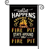 AVOIN Camper Stays Around The Fire Pit Garden Flag Vertical Double Sided, What Happens Around The Fire Pit Holiday Party Yard