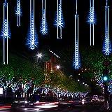 YSIM Meteor Shower Rain LightsUltra Bright Romantic Lights for Party Wedding Christmas etc.11.8inch 8 Tubes (Blue)