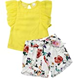 1-6T Toddler Girls Clothes Two Piece Chiffon Ruffle Sleeve Yellow Top & Lace Floral Short Sets Summer Little Girl Outfits