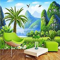 Wuyyii 新鮮な中国風の風景自然の壁紙リビングルームの寝室のインテリア3D壁画環境に優しい防湿3Dフレスコ画-120X100Cm