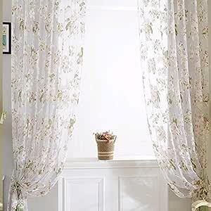 (ラ・デア) La dea ロング カーテン オシャレ 可愛い 遮像 リビングルーム・ベランダ・客間用 断熱 半遮光  (ホワイト 100*200cm 2枚セット)