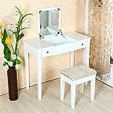 鏡台 化粧台 ドレッサー テーブル ホワイト イス付き 木製家具