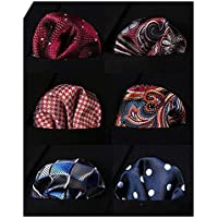 Hisdern Mens Pocket Square 6PCS Set With Gift Box Classic Handkerchiefs Silk Hankies for Men Luxury Wedding Present Various Patterns and Colors