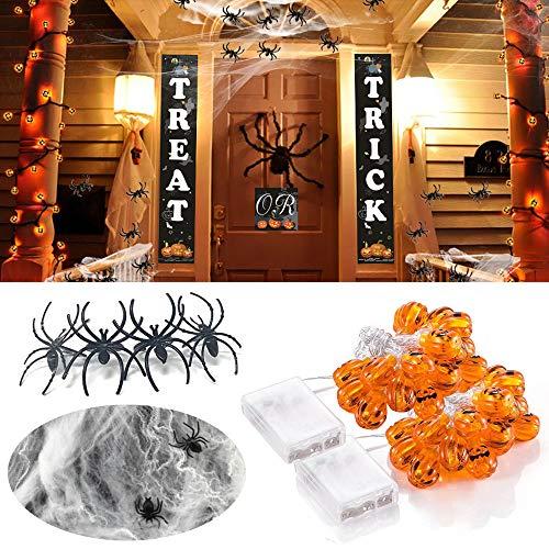 ハロウィン 飾り バナー +ledライト+スパイダーウェブ(クモフィギュア50個付き) 装飾 屋外 室内 玄関 部屋 3種類セット