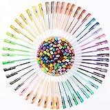 Litchi ペン 100色 ジェルボールペン 多色 中性 ボールペン 子供&大人の塗り絵 蛍光ペン 0.8~1.0 ケース付き