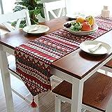 yazi-おしゃれ テーブルランナー ボヘミアン 自由でくだけた雰囲気へ 丈夫で長持ちコットン タペストリー テーブルセンター インテリア アクセントリバーシブル タッセル付き レッド
